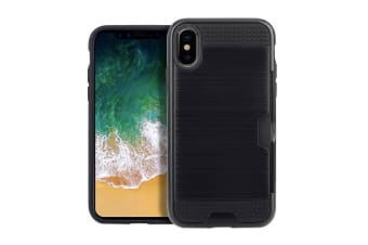 For iPhone XS X Case Elegant Brushed Armour Protective Cover Card Slot Black