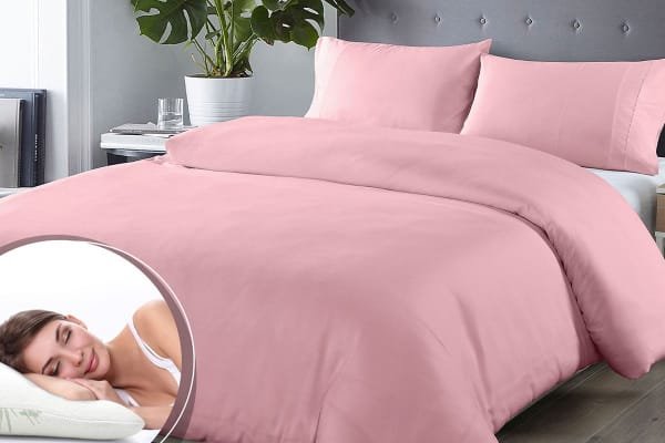 Royal Comfort Blended Bamboo Quilt Cover Set + Bamboo Pillow Twin Pack (King, Blush)