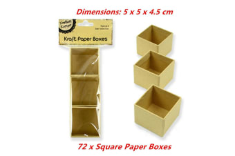 72 x Square Paper Mache Kraft Box High Container Storage Brown Craft Boxes 5x5x4.5cm
