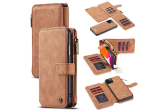 For iPhone 11 Pro Max Case  Wallet PU Leather Detachable Flip Cover  Brown