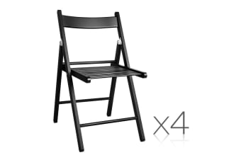 Set of 4 Delia Wooden Chair (Black)