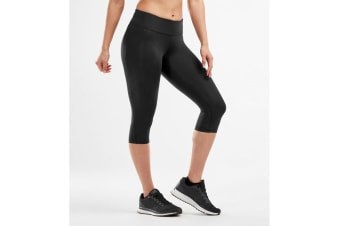 2XU Women's Mid-Rise Compression 3/4Tights (Black/Dotted Black Logo)