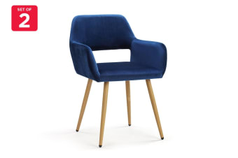 Ovela Set of 2 Elise Velvet Dining Chairs (Navy)