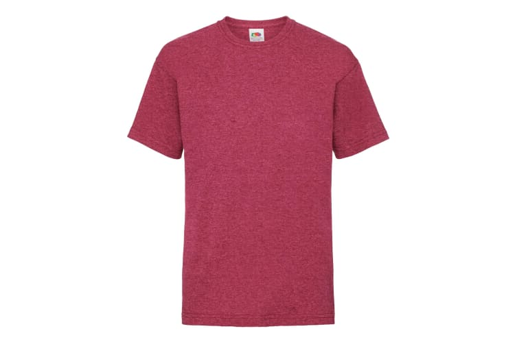 Fruit Of The Loom Childrens/Kids Unisex Valueweight Short Sleeve T-Shirt (Pack of 2) (Vintage Heather Red) (14-15)