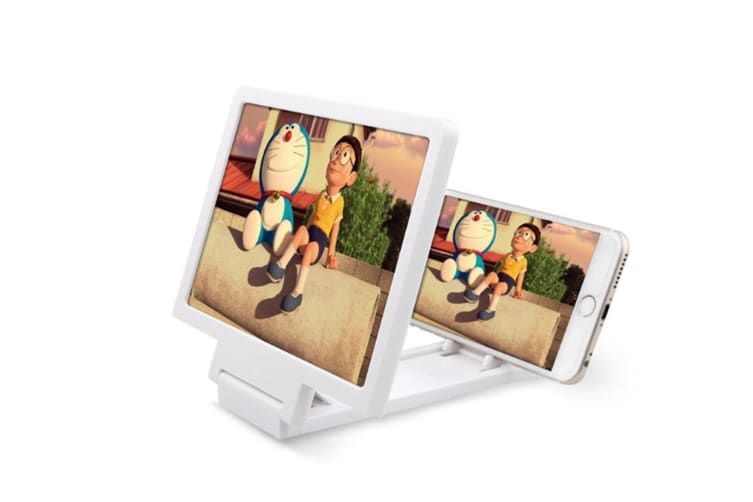 Select Mall 3D Screen Magnifier Grain Foldable Mobile Phone ScreenSuitable for Watching Movie Videos on All Smartphones-White