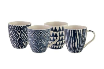 Bundanoon Mega Mug 518ml Set of 4 Ikat Blue