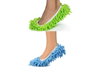 2 Pair Microfiber Mop Slippers Floor/Ground Cleaning/Polishing Cover Blue/Green