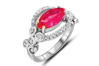.925 Merryl Ring With Ruby Cz-Silver/Red   Size US 8