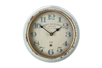 Distressed Blue Wall Clock (White/Blue)