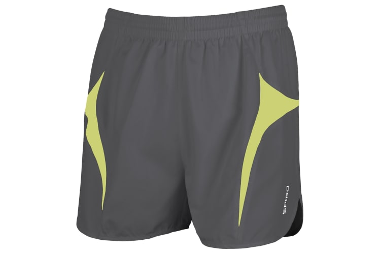 Spiro Mens Sports Micro-Lite Running Shorts (Grey/Lime) (XS)