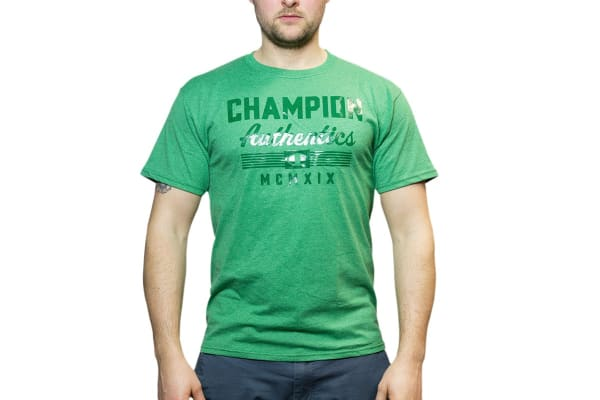 Champion Men's Graphic Jersey Tee - Rainforest Heather (Size M)