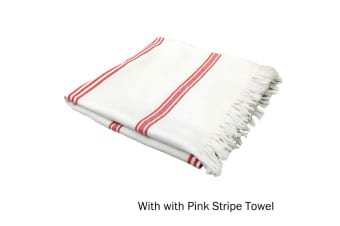 Cotton Terry Turkish Towel White with Pink Stripe by Home Innovations