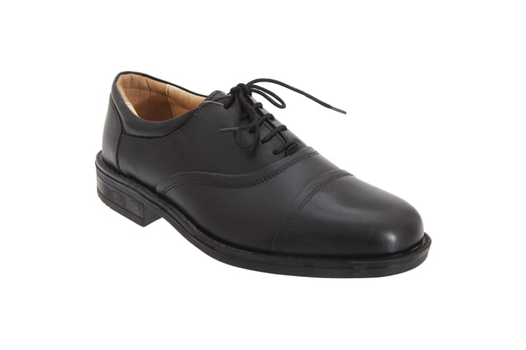 Roamers Mens Softie Leather Blind Eye Flexi Capped Oxford Shoes (Black) (6 UK)