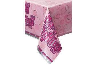 Unique Party Plastic Tablecover - Pink Glitz (Pink) (One Size)