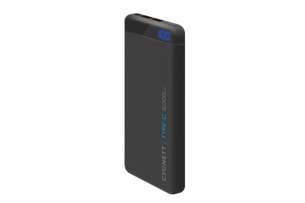 Cygnett ChargeUp Pro 6000 mAh 15W USB-C Power Bank - Black (CY2218PBCHE)
