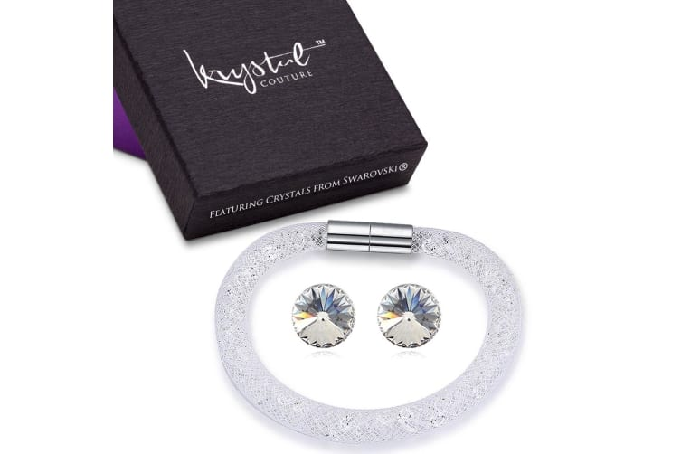 Stardust Single Bracelet and Earrings Set Clear Embellished with Swarovski crystals