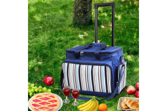 6 Person Picnic Bag Basket Set Trolley Cooler Wheels Insulated Bag