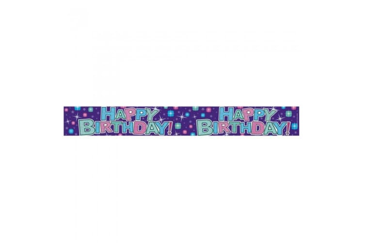 Expression Factory Holographic Happy Birthday Pastel Stars Foil Party Banner (Rainbow Letters) (One Size)