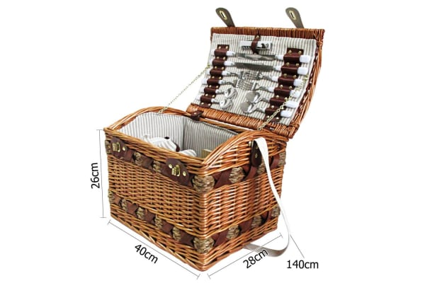 4 Person Picnic Basket Set with Cheese Board Blanket