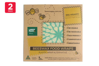 2 Pack Bee Wrappy Beeswax Wraps - Large