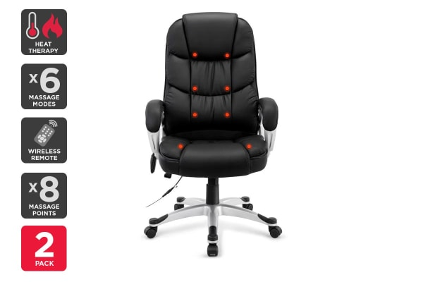 2 Pack Ergolux Deluxe 8 Point Massage Office Chair