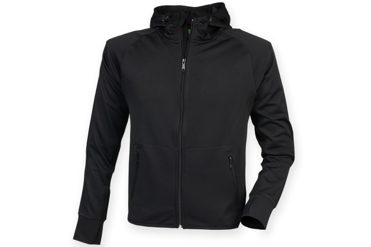 Tombo Teamsport Womens/Ladies Lightweight Running Hoodie With Reflective Tape (Black) (XS)