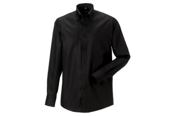 Russell Collection Mens Long Sleeve Ultimate Non-Iron Shirt (Black) (18inch)