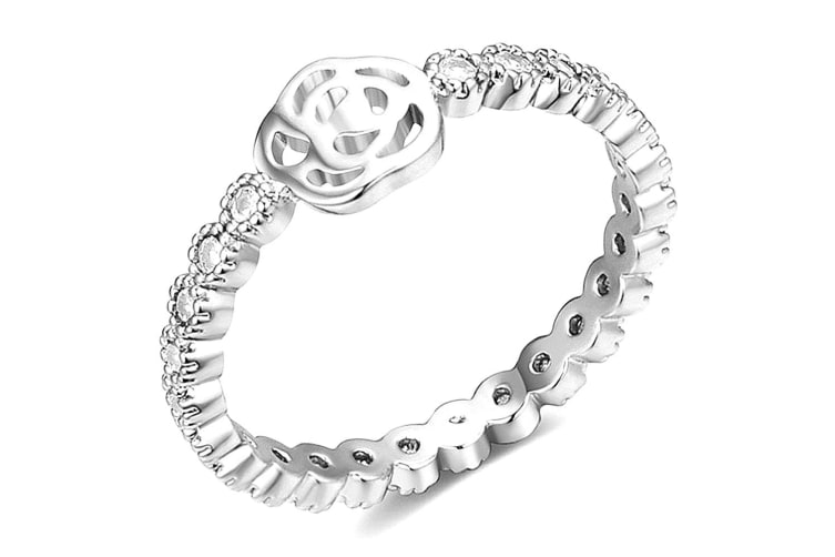 Flower Princess Ring-White Gold/Clear Size US 7