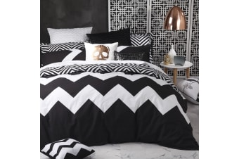 Marley Black Quilt Cover Set SUPER KING by Logan and Mason