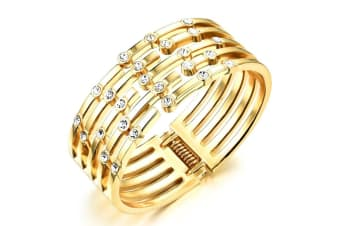 Mystical Gold With Swarovski Crystals Bangle-Gold/Clear