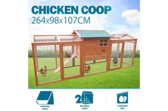 Chicken Coop Run Large Wood Outdoor Rabbit Hutch Hen Cage House XL w/ Nesting Box - 264cm