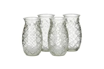 Libbey Modern Bar Tiki Pineapple Glass Set of 4