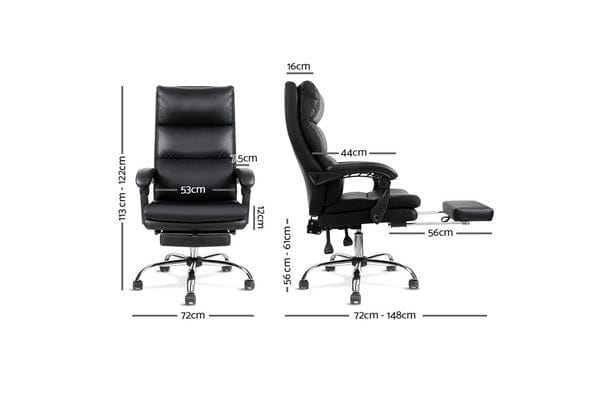 PU Leather Racing Style Office Desk Chair (Black)