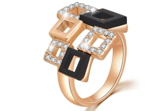 Checkers Crystal Ring Embellished with Swarovski crystals Size US 7