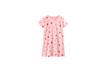 Girls Kid Nightgown Cute Cotton Princess Short Sleeve Nightie For Toddler - Pink Strawberry Pink 150Cm
