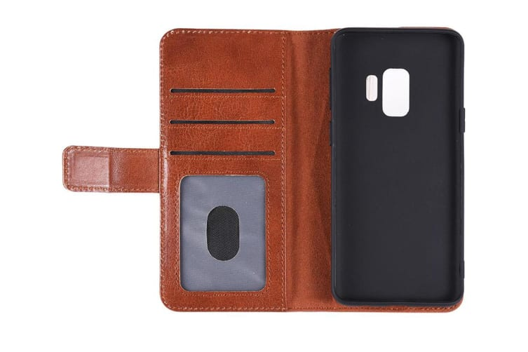 Urban Leather Wallet Case Flip Cover Protection for Samsung Galaxy S9+ Plus Tan