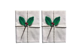 2x Avanti 60cm Christmas Traditional Pudding Calico Food Cotton Cloth Holly Leaf