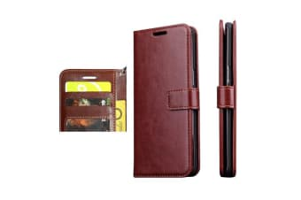 For Samsung Galaxy S8 PLUS Wallet Case Modern Luxury Durable Leather Cover Brown