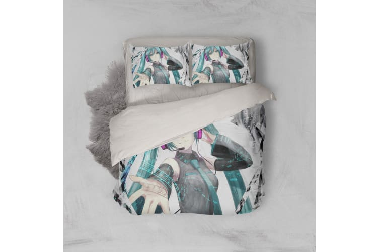 3D Anime Singer Miku Quilt Cover Set Bedding Set Pillowcases 17-Single