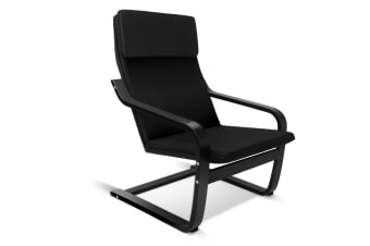 Birch Plywood Fabric Lounge Armchair (Black)