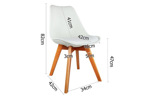 Set of 4 Dining Chair Padded PU (White)