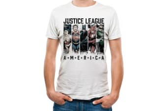 Justice League Unisex Adults America Design T-shirt (White)