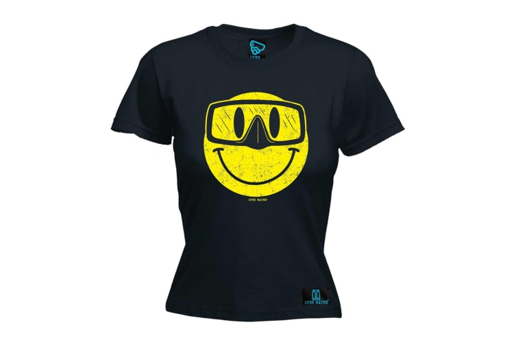 Open Water Scuba Diving Tee - Smiling Goggles Diver - (Small Black Womens T Shirt)