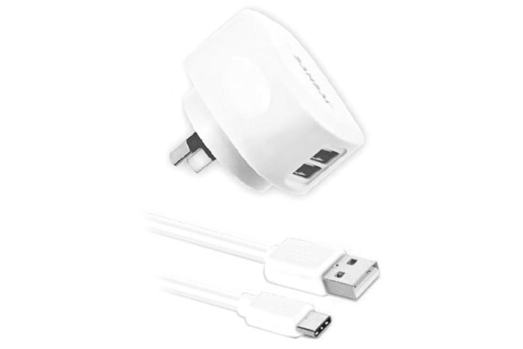Sansai Dual USB Wall Charger w/USB C Charging Cable for Smartphones Samsung HTC