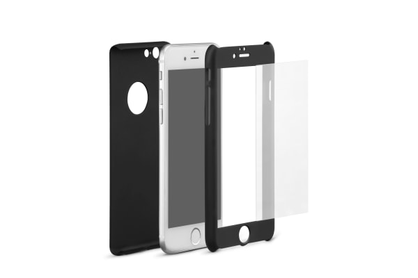 iPhone 6S 360 Case (Black) + Tempered Glass Screen Protector