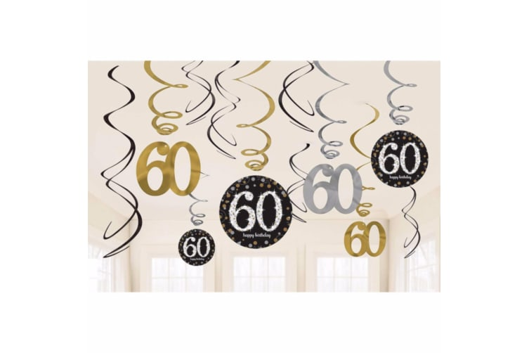Amscan Gold Celebration 60th Birthday Swirl Decorations (Pack of 12) (Multicoloured) (One Size)