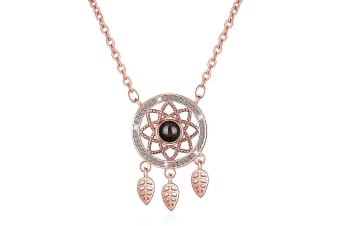 Modern Rose Gold Dream Catcher with Glass Necklace
