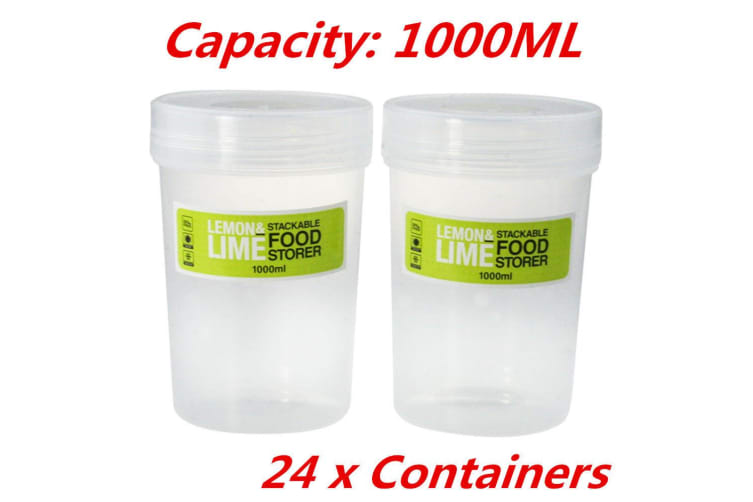 24 x 1000ml Screw Top Stack-able Plastic Food Storage Container Box Tubs Lid BPA Free