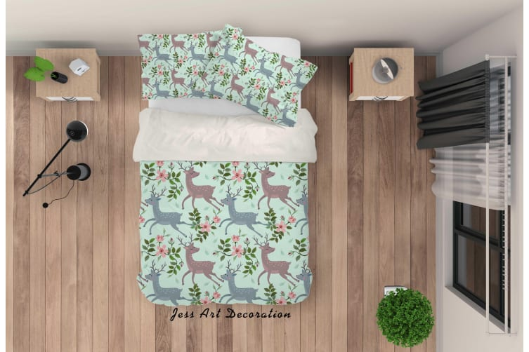 3D Cartoon Deer Flower Quilt Cover Set Bedding Set Pillowcases 70-Single