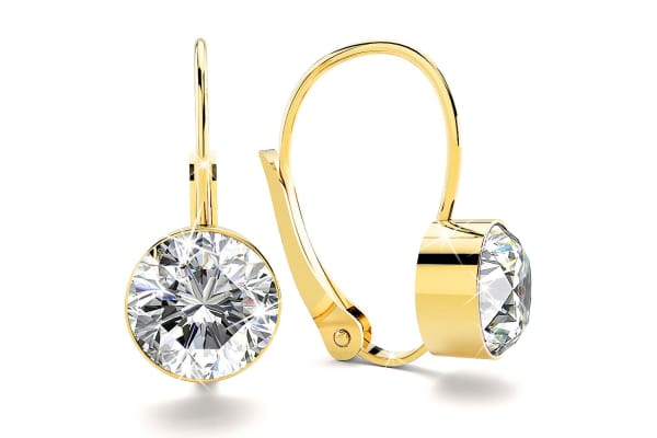 Audrey Lever Back Earrings w/Swarovski Crystals -Gold/Clear